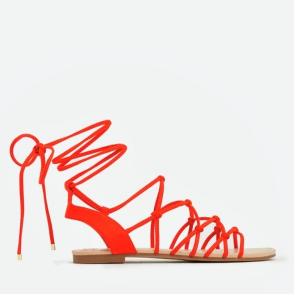 40162566ada2 Justfab Red Faux Suede Lace up Sandals